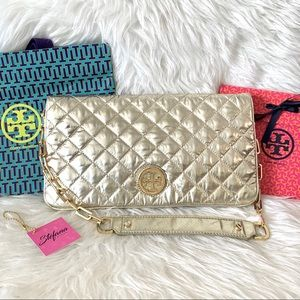 Tory Burch Bags - Tory Burch Quilted Nylon & Leather Reva Clutch